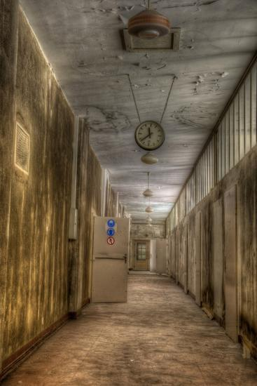 Derelict Interior with Clock-Nathan Wright-Photographic Print