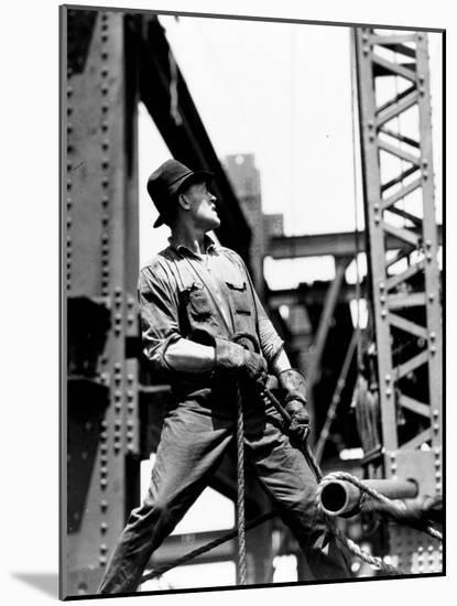 Derrick man, Empire State Building, 1930-31 (gelatin silver print)-Lewis Wickes Hine-Mounted Photographic Print