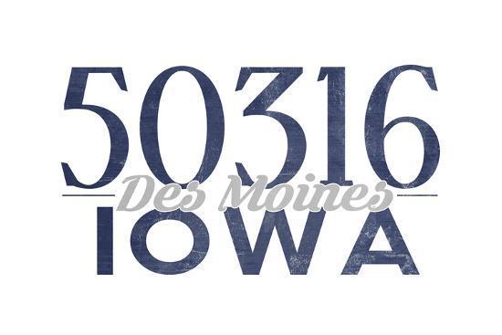 Des Moines, Iowa - 50316 Zip Code (Blue)-Lantern Press-Art Print