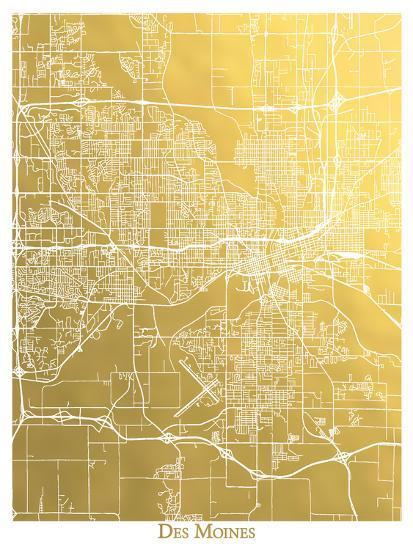 Des Moines-The Gold Foil Map Company-Art Print