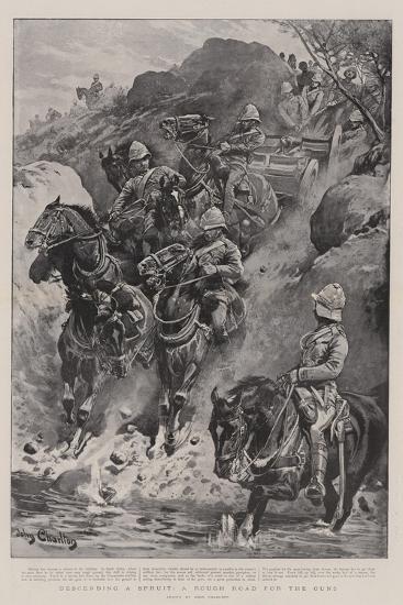 Descending a Spruit, a Rough Road for the Guns-John Charlton-Giclee Print