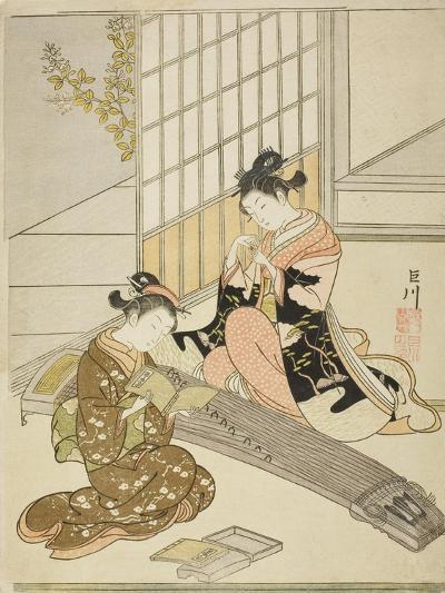 Descending Geese of the Koto Bridges (Kotoji No Rakugan), C.1766-Suzuki Harunobu-Giclee Print