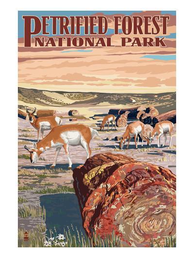 Desert and Antelope - Petrified Forest National Park-Lantern Press-Art Print
