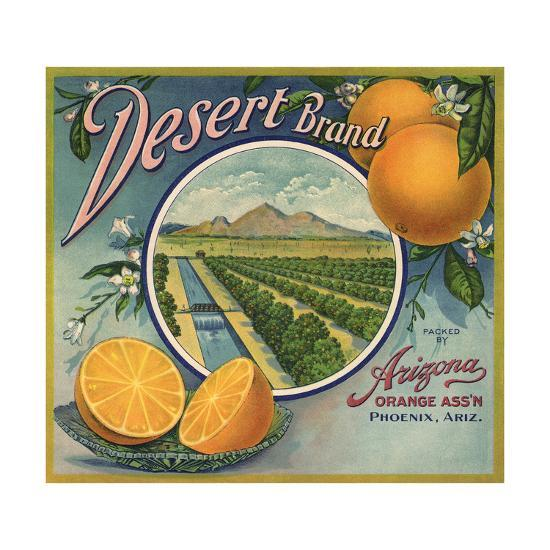 Desert Brand - Phoenix, Arizona - Citrus Crate Label-Lantern Press-Art Print