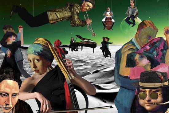 Desert Dance (Green) Kite-Aberrant Art-Giclee Print
