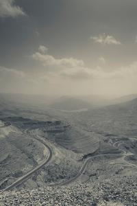 Desert landscape with highway, Wadi Mujib, Kings Highway, Jordan