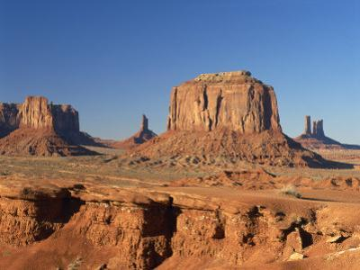 Desert Landscape with Rock Formations in Monument Valley, Arizona, USA