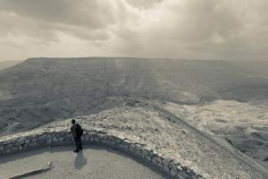 Desert landscape with visitor, Wadi Mujib, Kings Highway, Jordan