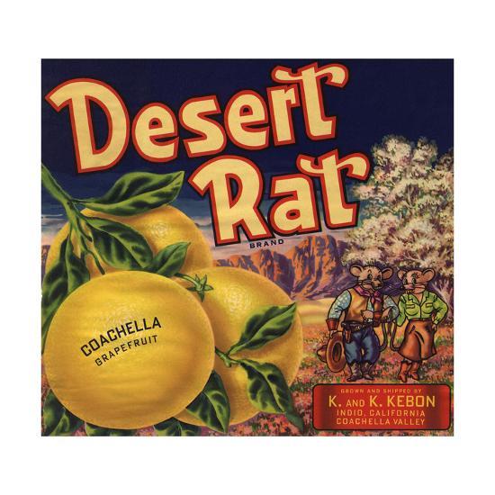 Desert Rat Brand - Indio, California - Citrus Crate Label-Lantern Press-Art Print