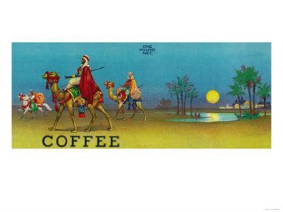 Desert Scene Coffee Label-Lantern Press-Art Print