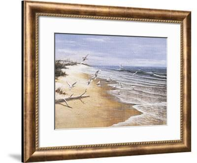 Deserted Beach with Seagulls-T^ C^ Chiu-Framed Art Print
