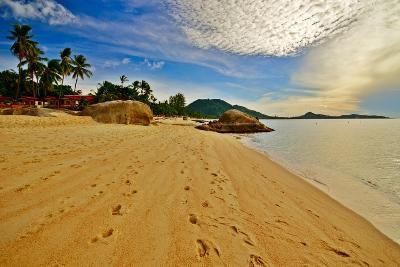 Deserted Morning Beach With Golden Sand And Footprints-vitalytitov-Photographic Print