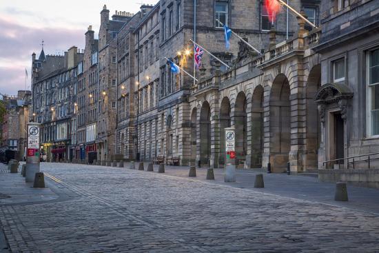 Deserted Street Along the Royal Mile, Edinburgh, Lothian, Scotland-Brian Jannsen-Photographic Print
