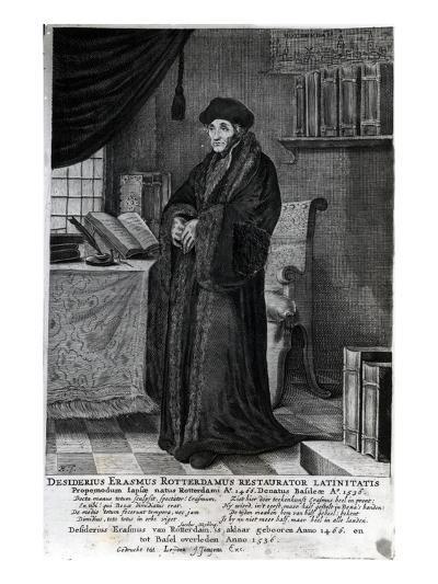 Desiderius Erasmus, 'Restorer of the Latin Language' (Engraving)- Dutch-Giclee Print