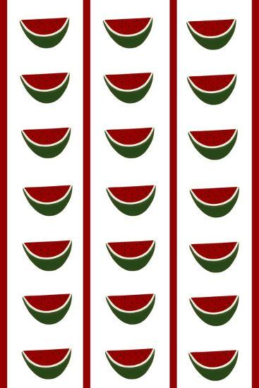 Design -CR- Watermelons in White-Cristina Rodriguez-Giclee Print