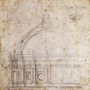 Design Drawings for Dome of St. Peter's Basilica in Vatican, Design by Michelangelo