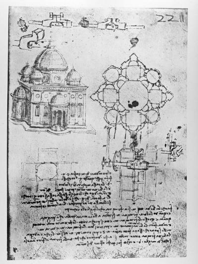 Design For a Church-Leonardo da Vinci-Giclee Print