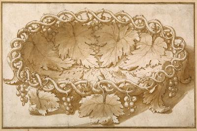 Design for an Oval Fruit Bowl, with Vine Tendrils, Leaves and Grapes-Giulio Romano-Giclee Print