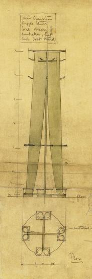 Design for an Umbrella, Hat and Coat Stand, Shown in Elevation and Plan, C.1898-1899-Charles Rennie Mackintosh-Giclee Print