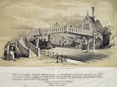 Design for Pedestrian Overpass at Train Station, London, England, UK, 19th Century--Giclee Print
