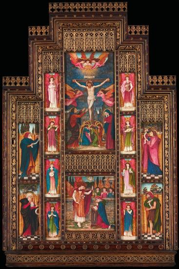 Design for Reredos at Holy Trinity Church, Florence, in Gothic Revival Frame by Bernini of Florence-John Roddam Spencer Stanhope-Giclee Print