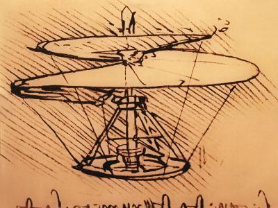 Design for Spiral Screw Enabling Vertical Flight-Leonardo da Vinci-Giclee Print