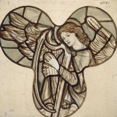 Design for Stained Glass in Lyndhurst Church: an Angel Harpist, 1862-Edward Burne-Jones-Giclee Print