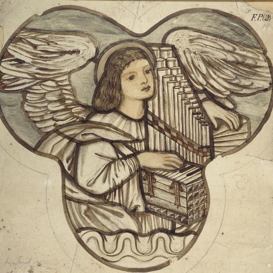 Design for Stained Glass in Lyndhurst Church: an Angel Organist, 1886-Edward Burne-Jones-Giclee Print