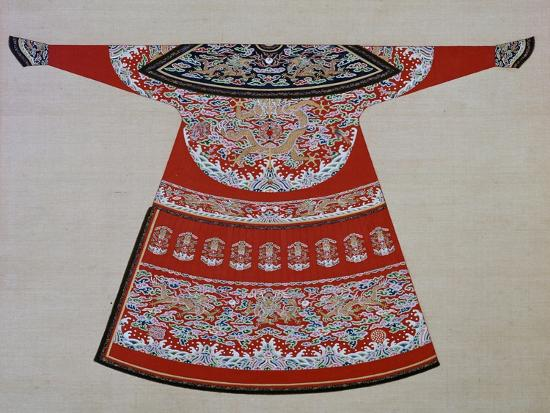 Design for the embroidered court robe of a Chinese Emperor, 19th century. Artist: Unknown-Unknown-Giclee Print