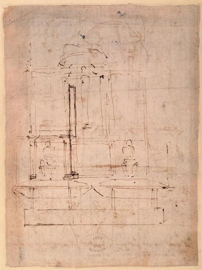 Design for the Tomb of Pope Julius Ii (1453-1513) (Brown Ink on Paper) (Verso)-Michelangelo Buonarroti-Giclee Print