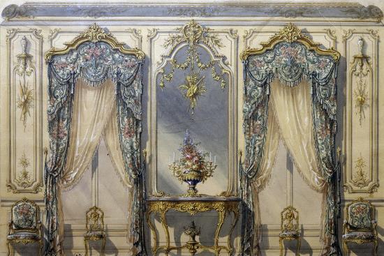 Design of Rococo Style Decor for Living Room, 1874, Gouache by G Felix Lenoir--Giclee Print