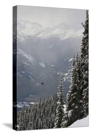 A Red Cable Car Riding over the Snow Covered Forest; Whistler British Columbia Canada