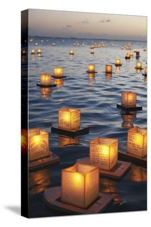 Annual Lantern Floating Ceremony During Sunset at Ala Moana; Oahu, Hawaii, United States of America