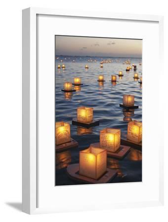 Annual Lantern Floating Ceremony During Sunset at Ala Moana; Oahu, Hawaii, United States of America