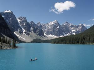 Canoeing on Moraine Lake, Banff National Park; Alberta, Canada by Design Pics Inc
