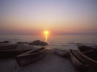 Canoes and Fishing Boats on Beach by Lake Malawi, Sunset by Design Pics Inc