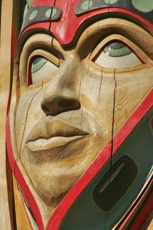 Close Up of a Face on a Traditional Haida Totem Carving in Ketchikan, Alaska by Design Pics Inc