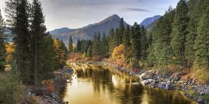Composite Entitled 'River of Gold' Taken from a Bridge over the Icicle River by Design Pics Inc