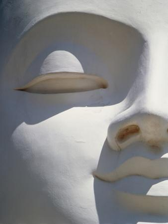 Detail of the Face of a White Buddha by Design Pics Inc