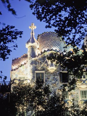 Exterior of Casa Batllo at Dusk with Trees by Design Pics Inc