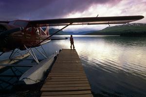 Fisherman Chelatna Lake Lodge Floatplane Docked Alaska Range Interior Summer Scenic by Design Pics Inc