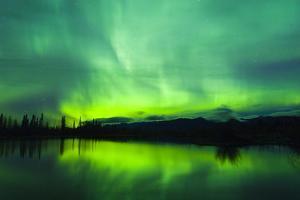 Green Aurora Borealis over Small Pond in Kluane National Park, Yukon Territory, Canada by Design Pics Inc