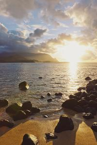 Hawaii, Kauai, Hanalei Bay, Dramatic Sunset over Ocean from Beach by Design Pics Inc