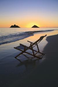 Hawaii, Lanikai, Empty Beach Chair at Sunset by Design Pics Inc