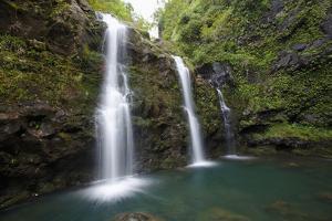 Hawaii, Maui, Hana, the Three Waikani Falls with a Clear Blue Pond on the Road to Hana by Design Pics Inc