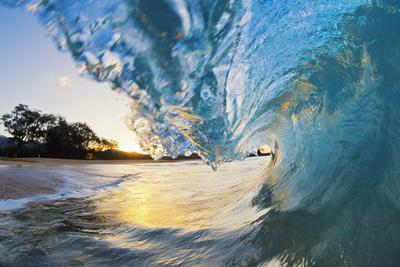 Hawaii, Maui, Makena, Beautiful Blue Ocean Wave Breaking at the Beach at Sunrise