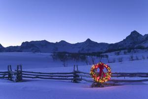 Holiday Wreath on Split Rail Fence Colorado Winter Sneffels Range Rocky Mtns by Design Pics Inc