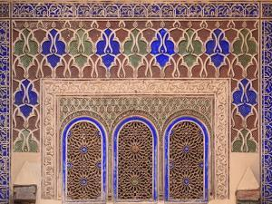 Intricate Painted and Stucco Patterns on the Walls of a Riad; Marrakech, Morocco by Design Pics Inc