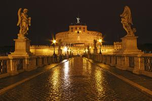 Night Lights of the Bridge across the Tiber River to Castel Sant'Angelo; Rome Lazio Italy by Design Pics Inc