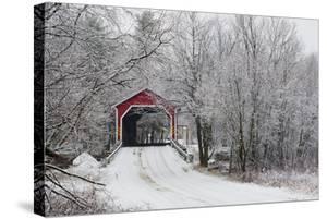 Red Covered Bridge in the Winter; Adamsville Quebec Canada by Design Pics Inc
